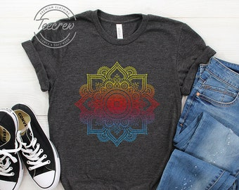 b3b71e425 Colored Mandala Shirt, Womens Boho T Shirt, Bohemian Shirt, Boho, Boho  Womens Shirt, Graphic Tee, Mandala, Yoga, Yoga Shirt, Mandala Shirt