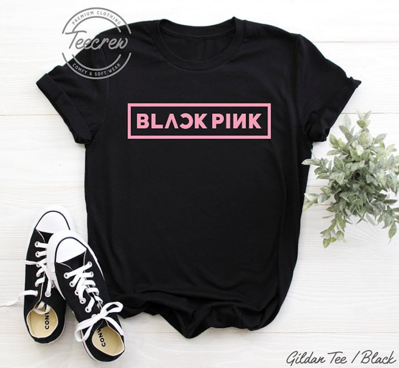 be38ebfc BlackPink Logo Shirt K-pop T Shirt Black Pink Concert Kpop   Etsy