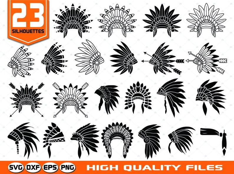 ee0c65d1064 Headdress silhouette SVG Cut files Indian svg Tribal svg