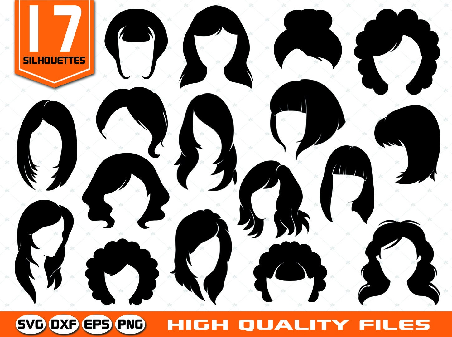 Woman Haircuts Silhouettes Svg Woman Hairstyle Female Etsy