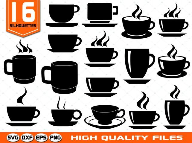 coffee cup silhouettes svg tea cup svg mug svg coffee etsy