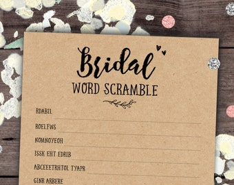 bridal word scramble game bridal shower games unscramble words bachelorette party games kraft printable game instant download red b11