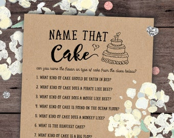 name that cake bridal shower game printable rustic games bridal shower games activities party games rustic kraft instant download
