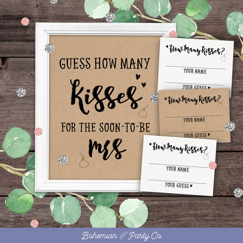 picture relating to Guess How Many Kisses for the Soon to Be Mrs Free Printable named Wager How Quite a few Kisses For The Before long In the direction of Be Mrs, Are In just The Jar, Playing cards, Signal, Bridal Shower Video games Printable, Rustic, Recreation Instantaneous Down load