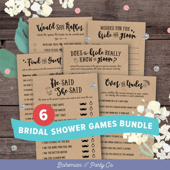 Bridal Shower Games Bundle Instant Download Saver Package Printable Rustic Wedding Shower Games Activities Unique Funniest