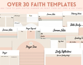 Faith Inserts for Digital Planning | Goodnotes 5  | Sermon Notes Planning Inserts| Faith Inserts for Digital Planning | Faith Printables