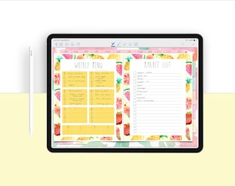 Meal Prep / Market List Template for Digital Planning | Meal Prepping Digital Template
