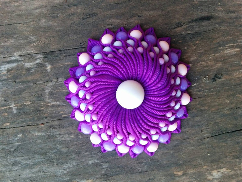 gifts for her gift for bridesmaid kanzashi wedding brooch flower wedding brooch Purple kanzashi flower brooch with beaded embellishments