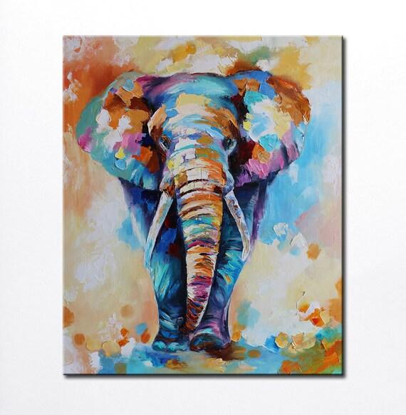 Colorful Elephant Painting Modern Multicolor Animals Art Oil On Canvas Elephant Artwork Elephant Decor Indian Art Nursery Elephant Fine Art