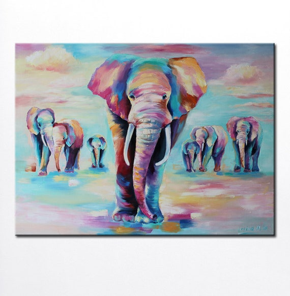 Elephant Large Art Elephant Oil Painting Canvas Elephant Family Art Animals Art Colorful Elephant Wall Art Indian Art Nursery Elephant Art