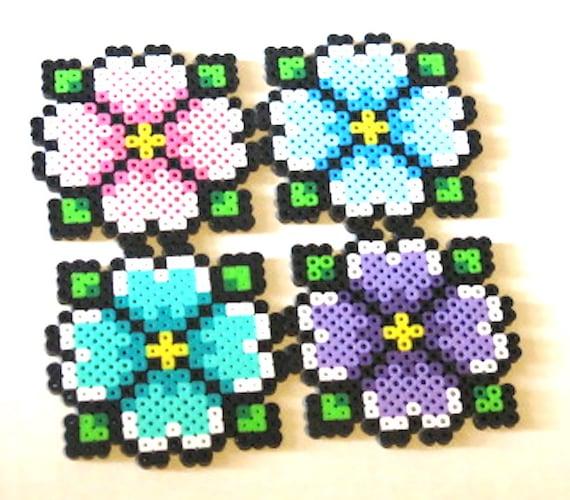 Perler Beads Flower Coaster Magnet or Keychain