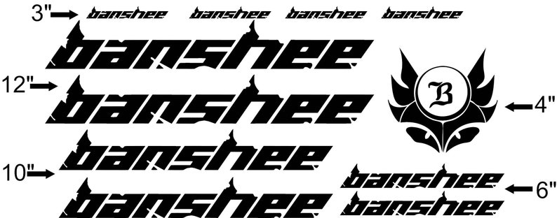 Custom Made Banshee Style Bike Frame Decals Stickers  Made from high  quality vinyl  Lots of colors  USA seller!