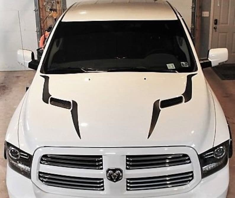 2010-2017 DODGE RAM 2500//5500 Thin HOOD GILL VENT GRAPHIC DECALS MATTE BLACK