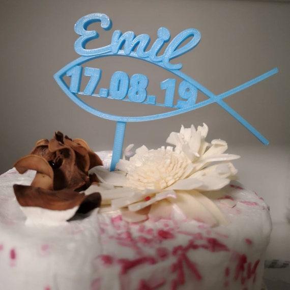 Caketopper Cake Topper Fisch Mit Namen Und Datum Zur Taufe Kommunion Konfirmation Kuchenstecker Tortenstecker Individualisierbar