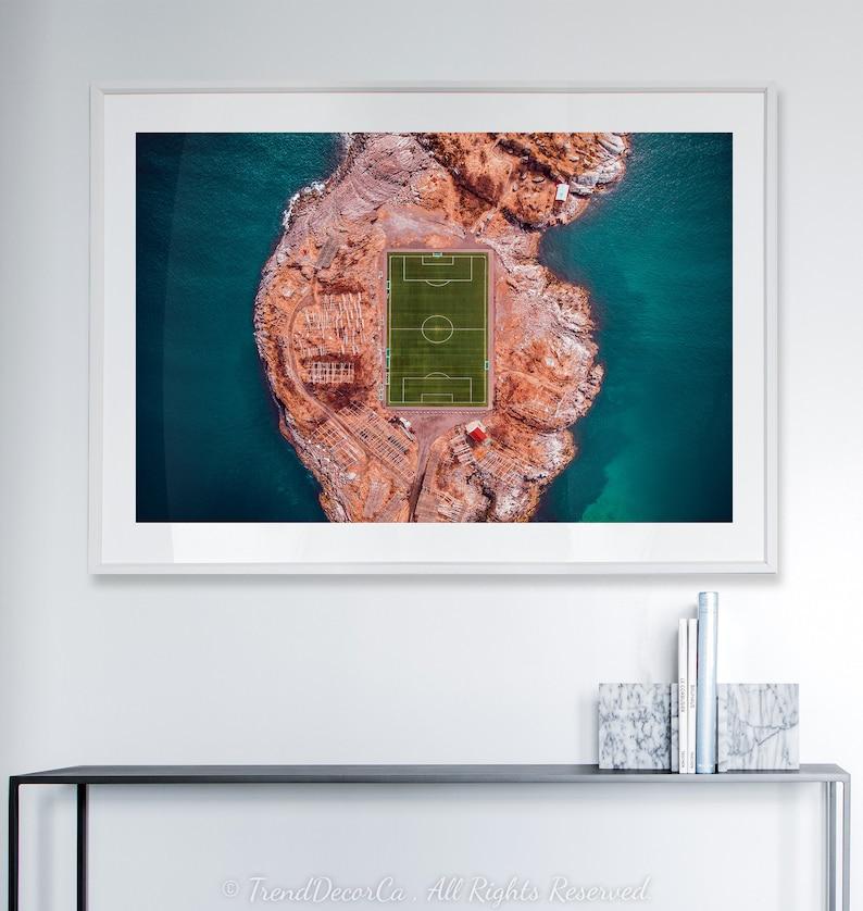 Soccer Beach Decor Beautiful Ocean Decor Unique Soccer field print Ocean Wave Island Large Poster Football Ocean Turquoise printable