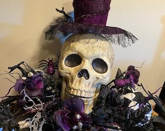 "Primitive Skeleton Skull Halloween Wired Ribbon Skeleton 2.5/""  x 12/' New"