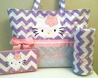 464f8892c5 Chevron Hello Kitty Diaper Bag ~ Gray ~ Grey ~ Lavender ~ Purple ~ Girl ~  Monogram ~ Personalized