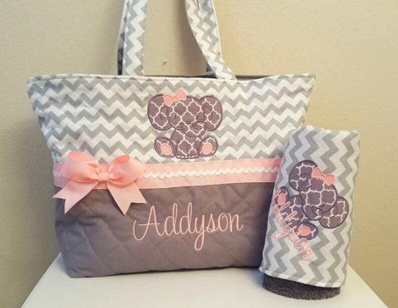 0ab695c948 Chevron Elephant Diaper Bag Gray Grey Pink Baby Girl | Etsy