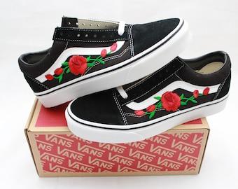 fb5b5125e6 red rose vans old skool back to school summer time unisex shoes