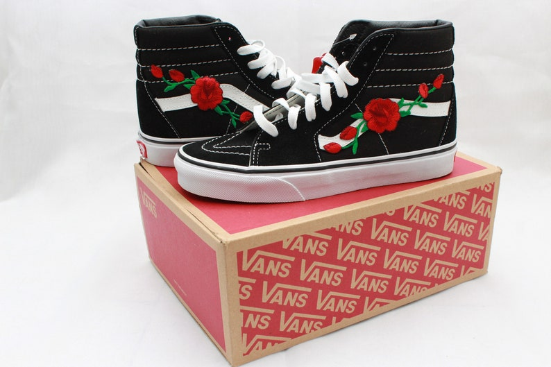 ed017433e4 Rose Buds Custom Vans SK8 High Top Tennis Shoe BACK TO SCHOOL