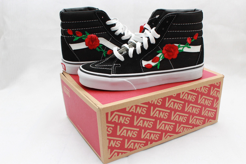 de8eeb1f7a1 Rose Buds Custom Vans SK8 High Top Tennis Shoe BACK TO SCHOOL