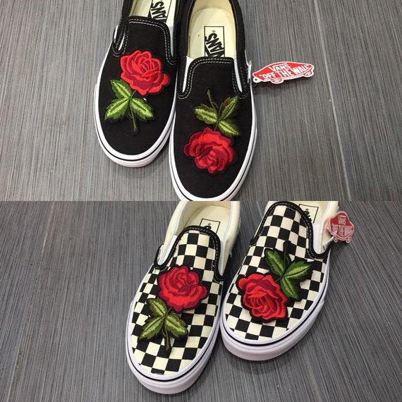 Slip on vans red rose checkered vans