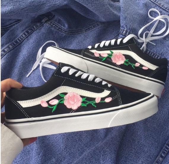 Pink rose vans old skool unisex shoes summer wear back to school