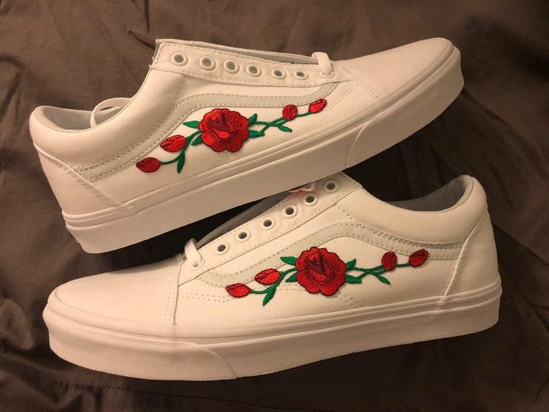 1d22849152 Red rose vans old skool back to school summer time unisex