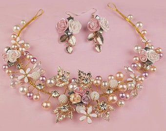Gold Color Handmade Flower Headpieces Wedding Bridal Pearl Crystal Headbands