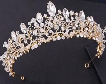 Baroque Luxury Royal Faux Crystal Crown Glitter Rhinestone Wedding Bridal Tiara Princess Prom (GOLD)
