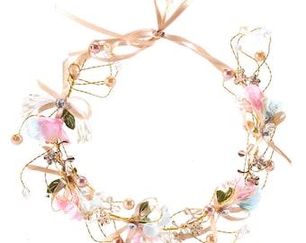 Handmade bow flower tiara bridal wreath