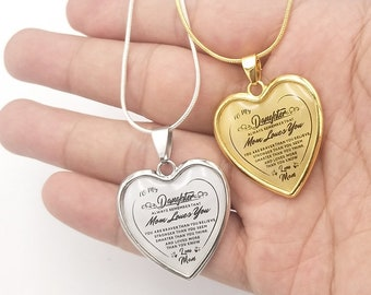 To My Daughter Love Mom Heart Epoxy Necklace Inspirational Jewelry