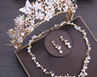 BEPHORA Handmade Floral Rhinestone Choker Necklace Earrings Tiara Rhinestones Queen Pageant Crown Bridal Hair Jewelry Wedding Dress Accesso