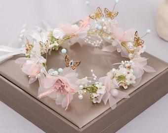 Romantic Women's Fairy Hair Crowns Wreath Sweet Butterfly Flower Hairband Party Bridal Headband Jewelry Accessories