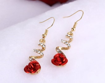 Vintage For Women Rose Gold Spiral Dangle Earring