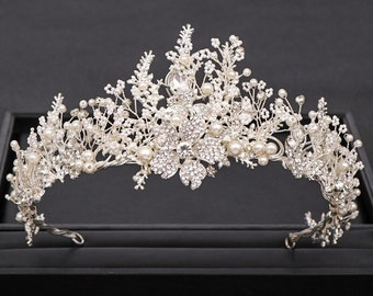 Silver Color Crystal Flower Crown For Bride Luxury Barque