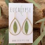 Eucalyptus Leaf Teardrop Earrings • Australian Native flora Australiana botanical earrings real pressed flowers in resin jewellery