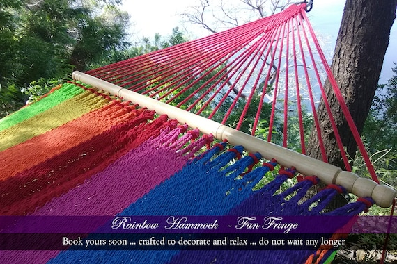Regenbogen Motley Rainbow Hammock With Wooden Sticks Etsy