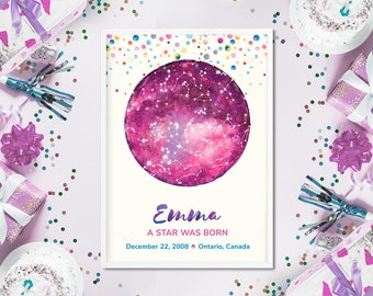 Birthday Gift Personalized Star Map DIGITAL Download Custom Night Sky Chart Nursery Room Decor Watercolor Space Poster Baby Shower