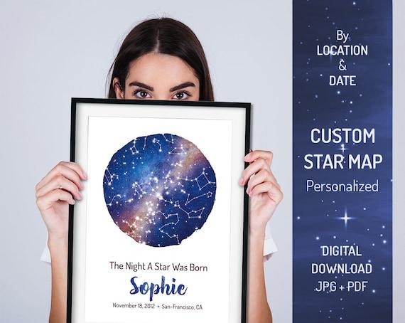 Custom DIGITAL Star Map Birthday Gift Was Born
