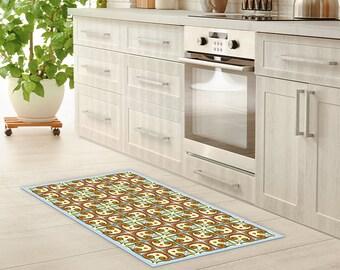 Vinyl Floor Mat Linoleum Rug Mexican Tiles Vinyl Kitchen Rug Bath Mat Waterproof Doormat Art Mat Area Rug PVC Carpet
