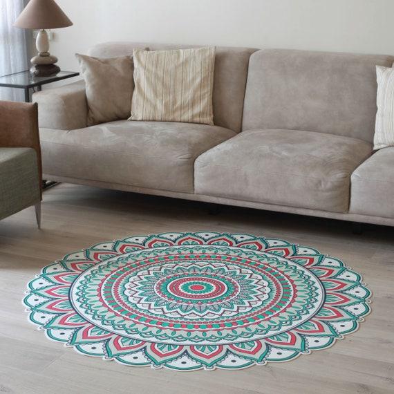 Printed Vinyl Floor Mat Green & Red Round Linoleum Rug Vinyl Kitchen Rug  Bath Mat Pet Mat Art Mat Area Rug PVC Carpet