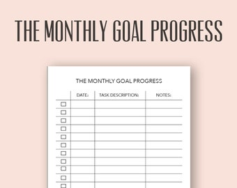 monthly goals sheet etsy