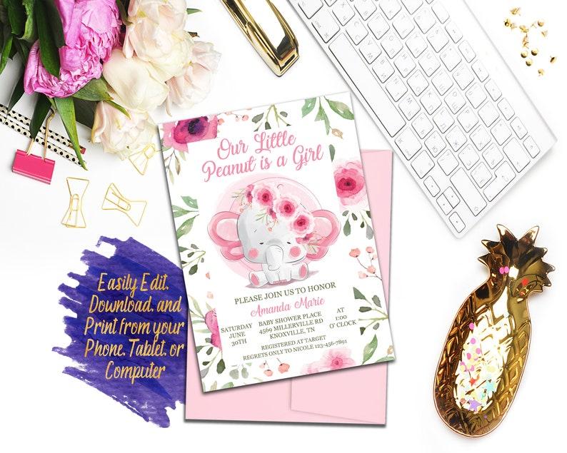 Baby Shower Bundle ID132 Elephant Baby Shower Invitation Set Girl Digital File Pink