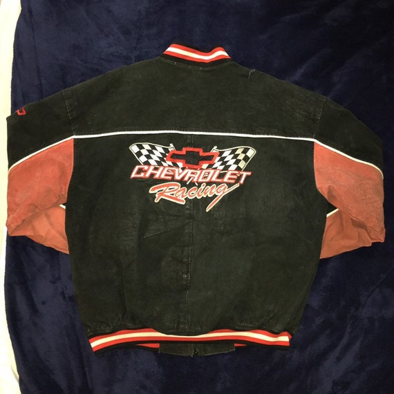Vintage 1990s Nascar Chevy Racing Leather Jacket