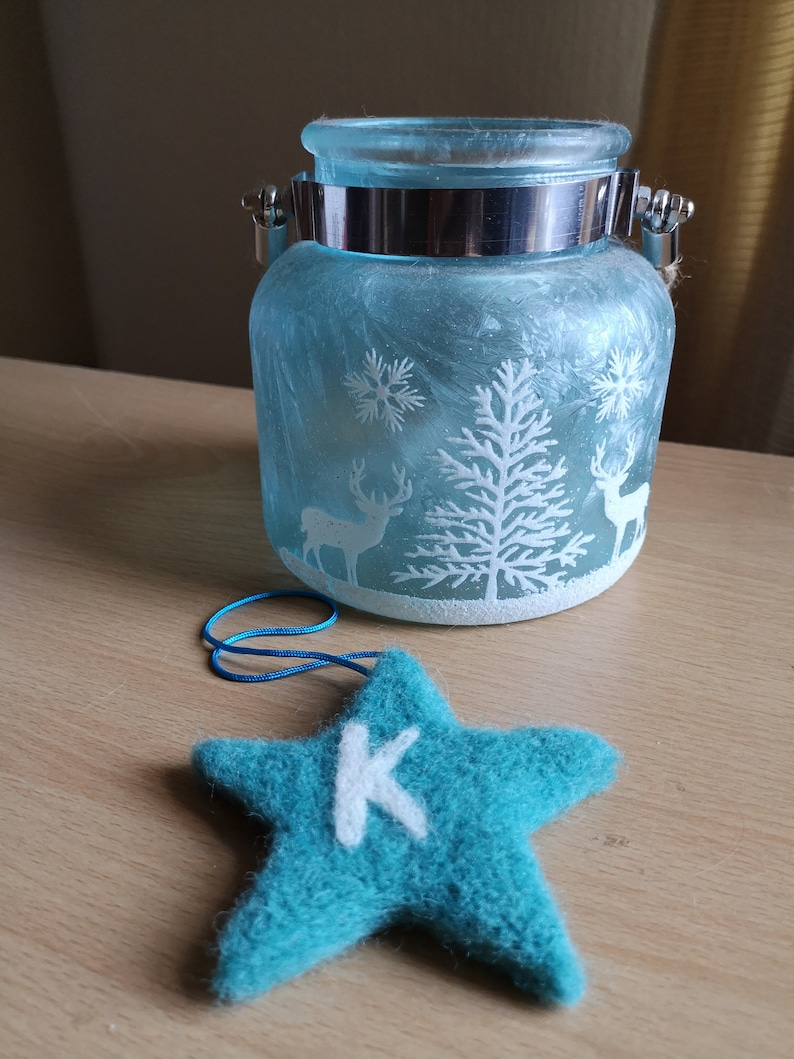 personalised dad gift gift for boy blue star bauble gift for boyfriend Needle Felted hanging star