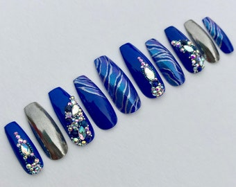 Royal Blue Nails Etsy