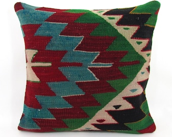 Kilim Pillow Throw Pillow Cover 16x16 Kilim Cushion Unique Christmas Gift  For Her Unique Gift For Women Rustic Holiday Decor Mom Gift f269e8882b