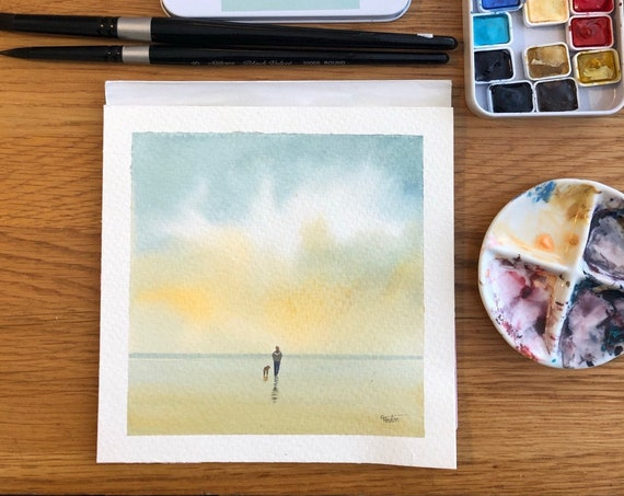 Square small original watercolour painting, Figure, child and dog on beach.  Lovely, unique Mother's Day gift direct from the artist in UK