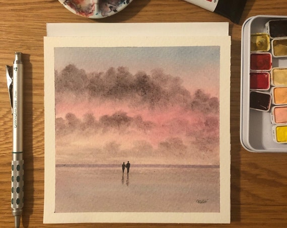 Square small original romantic watercolour painting, couple on beach. Gift for engagement, anniversary, wedding, birthday or retirement